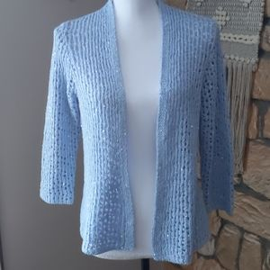 Light Blue Sequin Open Cardigan Sweater